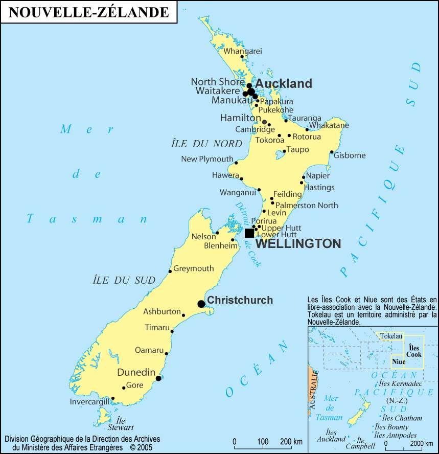 La Nouvelle-Zélande, avec Invercargill, à l'extrémité sud. L'épicentre sous-marin est situé à 160 km à l'ouest de cette ville (vers la gauche sur la carte). Crédit : Maison des Français de l'étranger