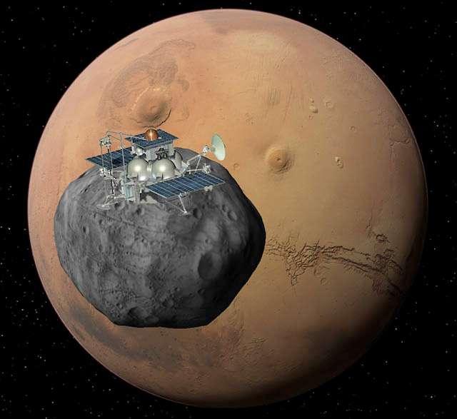 Les ambitions russes d'exploration martienne se focalisent sur Phobos. Également intéressés par Mars, les Russes n'envisagent pas d'y aller seuls : ils en font un objectif à atteindre en coopération avec d'autres nations. © Roscosmos