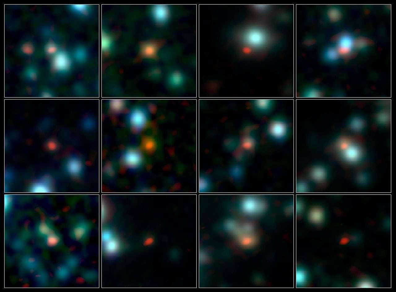Cette image montre les plans rapprochés de quelques-unes des galaxies de l'univers jeune observées par Alma, dans la constellation australe du Fourneau. Les observations du télescope, effectuées à des longueurs d'onde submillimétriques, figurent en orange et en rouge, et se superposent au cliché infrarouge de la région pris par la caméra Irac qui équipe le télescope spatial Spitzer. © Alma (ESO, NAOJ, NRAO), J. Hodge et al., A. Weiss et al., Nasa Spitzer Science Center