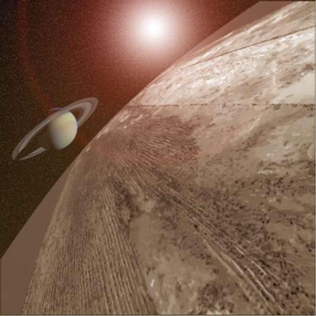 Au premier plan, une image radar des dunes à la surface de Titan combinée avec une photo de Saturne, à l'arrière-plan. © Antoine Lucas