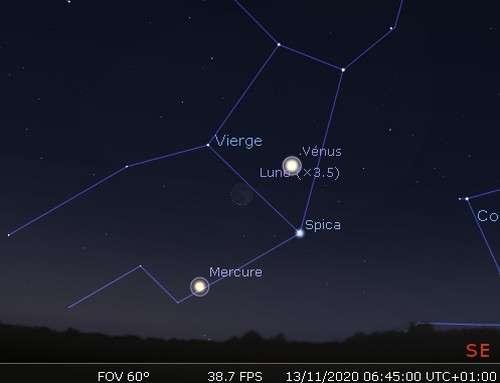 La Lune en rapprochement avec Vénus, Spica et Mercure
