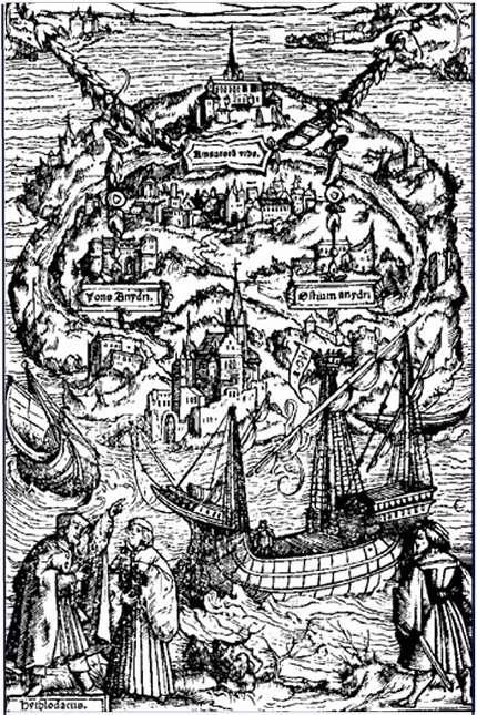 Gravure illustrant une édition de 1518 d'Utopia, une satire de la société de son temps. © Ambrosius Holbein, Wikimedia Commons, DP