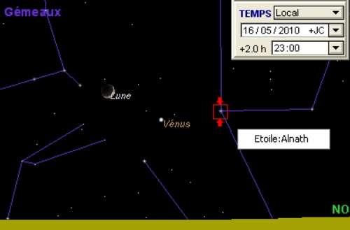 La Lune est en rapprochement avec la planète Vénus, l'étoile Alnath, et la Nébuleuse du Crabe