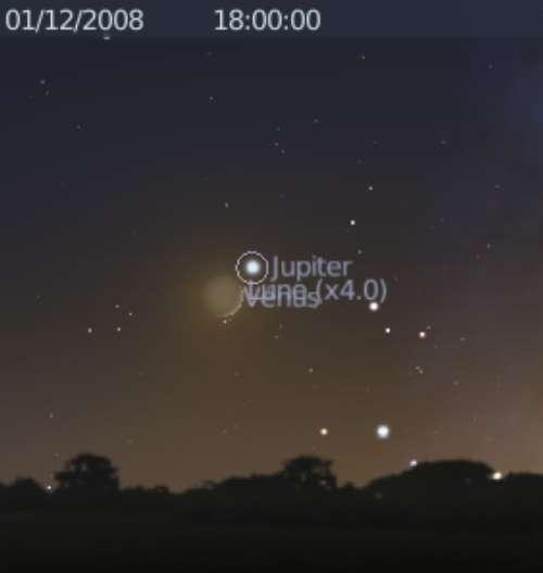 La Lune est en rapprochement avec les planètes Jupiter et Vénus, et occulte Vénus