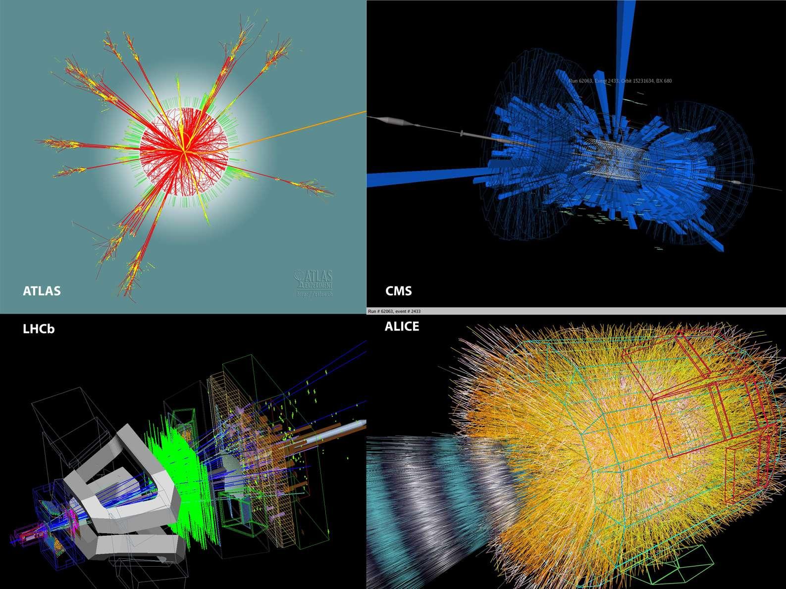 Ces quatre images montrent des simulations de réactions avec des particules élémentaires dans les collisions qui auront lieu dans les quatre détecteurs du LHC. En haut à gauche, il s'agit même de l'évaporation d'un mini trou noir dans le détecteur Atlas. Crédit : Cern