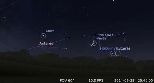 La Lune en rapprochement avec Saturne, Vesta et Cérès