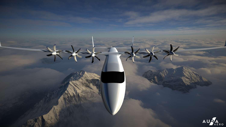 Un rendu du projet d'avion électrique de transport régional 19 places d'Aura Aero. © Aura Aero