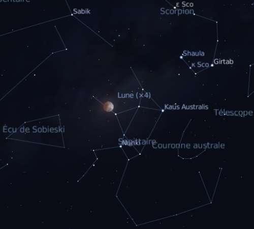 Eclipse partielle de Lune visible dans l'est de l'Asie, en Australie, dans l'Océan Pacifique et sur une partie des Amériques