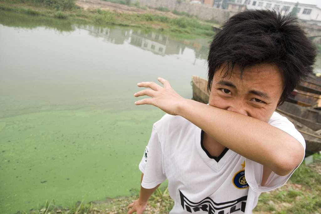 Un jeune homme qui vit près du lac Chao, en Chine avec sa famille. L'odeur générée par les algues est à peine supportable dans cette région. Régulièrement, l'efflorescence algale se produit lorsque des nitrates et des phosphates sont lâchés dans les eaux. © eutrophication&hypoxia, Flickr, cc by 2.0