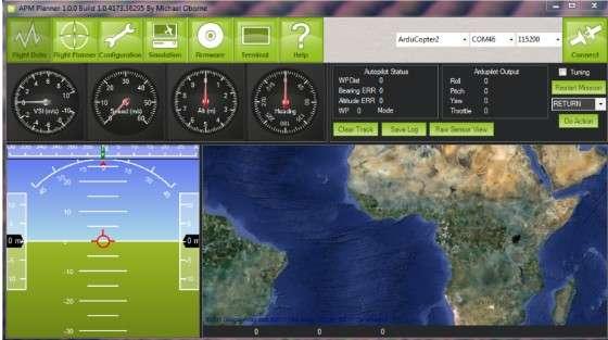 Eye3 utilise le logiciel de pilotage automatique open source APM 2.0 grâce auquel n'importe qui peut faire voler le drone, affirment ses concepteurs. © Capture d'écran APM2