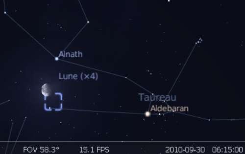 La Lune est en rapprochement avec l'étoile Anath et la nébuleuse du Crabe