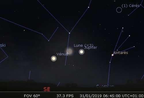La Lune en rapprochement avec Vénus et Jupiter
