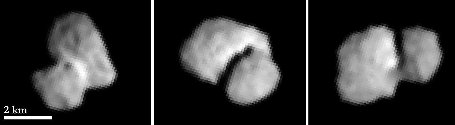 La comète 67P/Churyumov-Gerasimenko (67P/C-P) photographiée le 20 juillet à seulement 5.500 km de distance par Rosetta. Les images ont été capturées avec 2 heures d'intervalle. La résolution est de 100 mètres par pixel. © Esa, Rosetta, MPS pour Osiris, UPD, Lam, IAA, SSO, Inta, UPM, DASP, Ida
