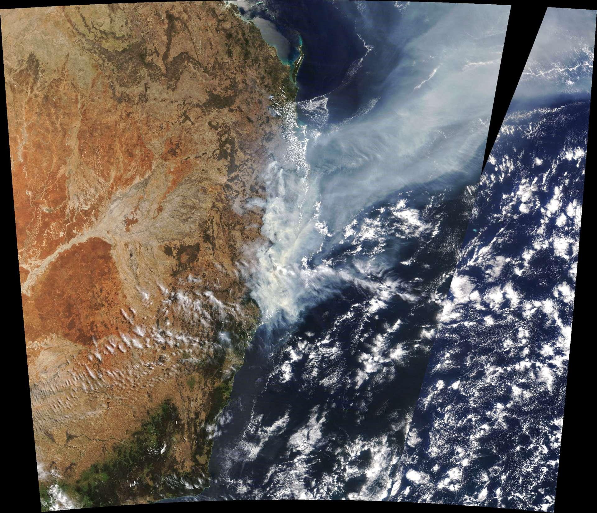Incendies en Australie vus de l'espace, le 11 novembre 2019. © Nasa Earth Observatory