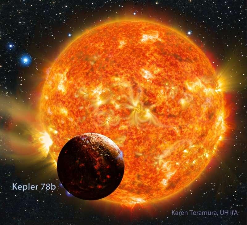 Kepler-78b est une planète rocheuse de même densité que la Terre. Sa composition et sa structure interne doivent donc beaucoup ressembler à celles de notre Planète. Mais comme le montre cette représentation d'artiste, elle est si proche de son étoile que toute vie y est impossible. © Karen Teramura