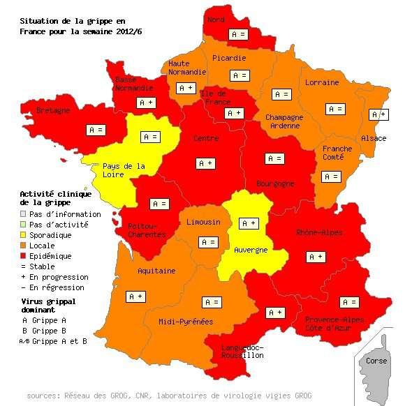L'épidémie de grippe s'installe sur l'ensemble de la métropole. Dix régions sont au-delà du seuil épidémique tandis que les Pays de Loire et l'Auvergne ne constatent qu'une dispersion sporadique. © Grog