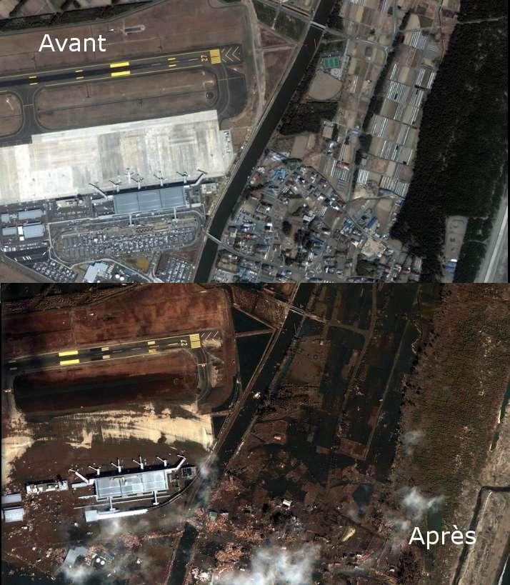 L'aéroport de Sendai, dévasté. © Google, Digital Globe, Geo Eye