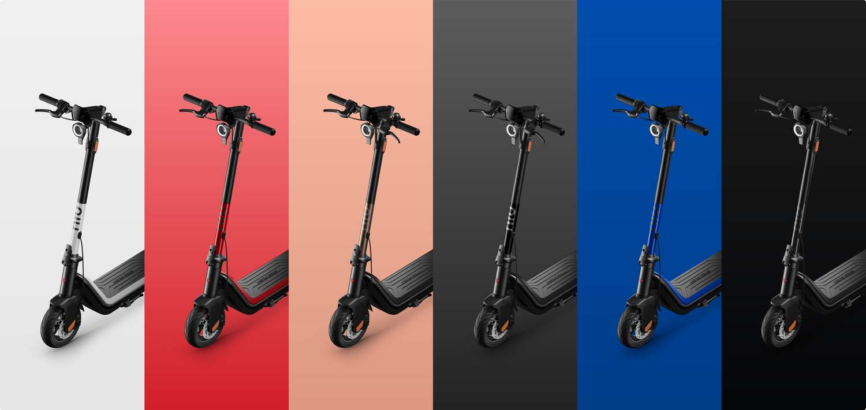 Les trottinettes électriques NUI Kick Scooter Pro et Sport sont déclinées en six coloris. © NIU