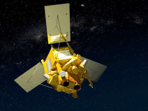 Vue d'artiste du satellite Spot-6 avec, au premier plan, les deux télescopes de 200 mm pour assurer un champ de 60 km. © Astrium