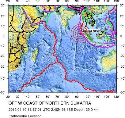 Le séisme du 10 janvier est survenu sur la faille de Sumatra, lieu d'une subduction rapide entre la plaque indo-australienne qui s'enfonce continûment sous l'Eurasie. © USGS