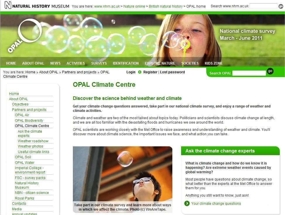 Le site de l'Opal Climate Centre invite les Britanniques à jouer avec des bulles savon. © Opal Climate Centre