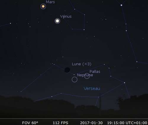 La Lune en rapprochement avec Neptune et Pallas