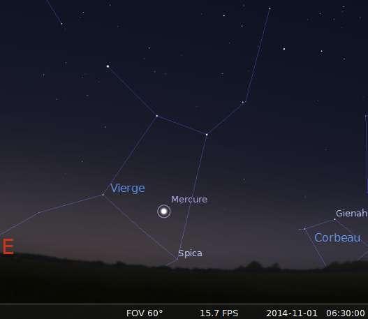 Le 01/11/2014 : plus grande élongation de Mercure à l'ouest du Soleil. © Futura-Sciences