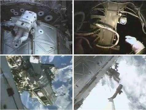 Images de la troisième sortie des astronautes de la mission STS-116. Crédit NASA-TV.