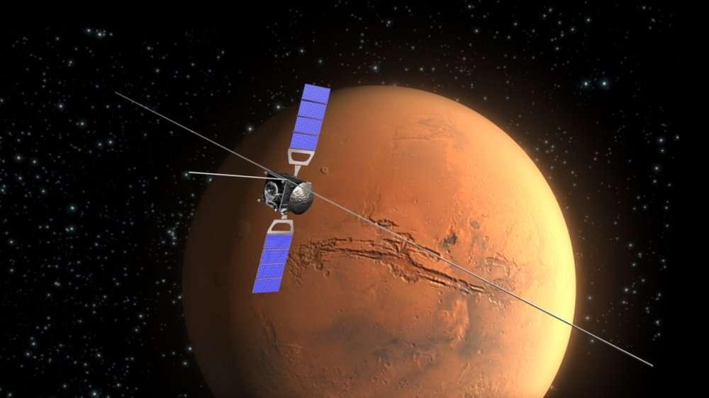 La sonde Mars Express (Esa) s'est placée en orbite martienne le 25 décembre 2003, juste après avoir largué l'atterrisseur Beagle 2 (qui s'est écrasé). Après de nombreuses difficultés, le long bras portant le radar Marsis a pu être déployé en 2005 et, depuis, sonde le sous-sol martien en mesurant l'écho de ses puissants flashs radar. L'appareil a également étudié le satellite Phobos. © Esa/C. Carreau