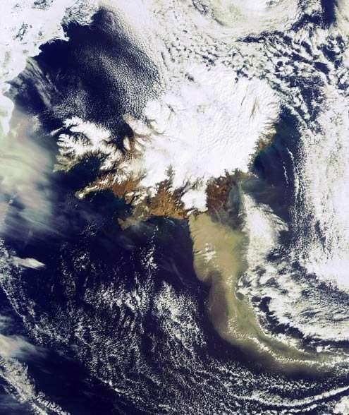 La nuage de cendres de l'Eyjafjöll au-dessus de l'Ecosse le 19 avril 2010. Crédit : Esa