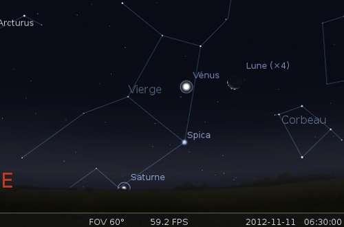 Le 11/11/2012 : la Lune est en rapprochement avec Vénus. ©