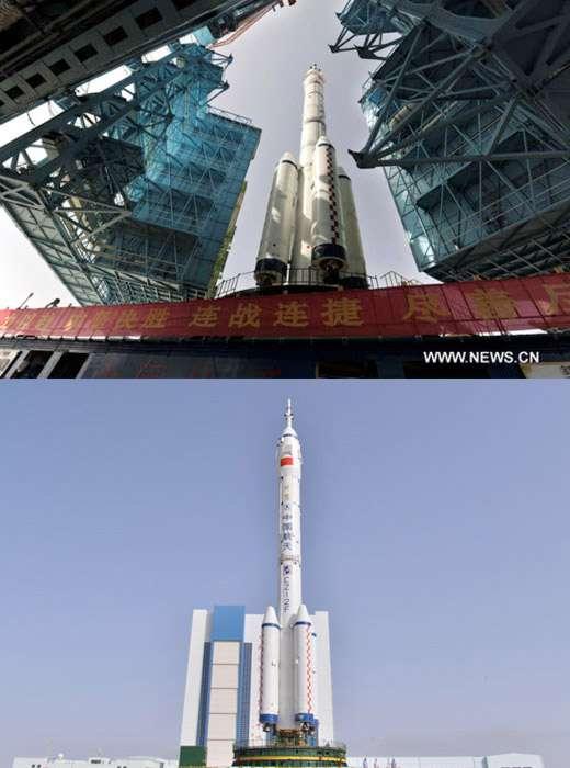 Le lanceur Longue Marche 2F de Shenzhou-10 est une version améliorée du lanceur utilisé pour la mission Shenzhou-9. Il est censé être plus fiable, d'après les annonces. © Xinhua