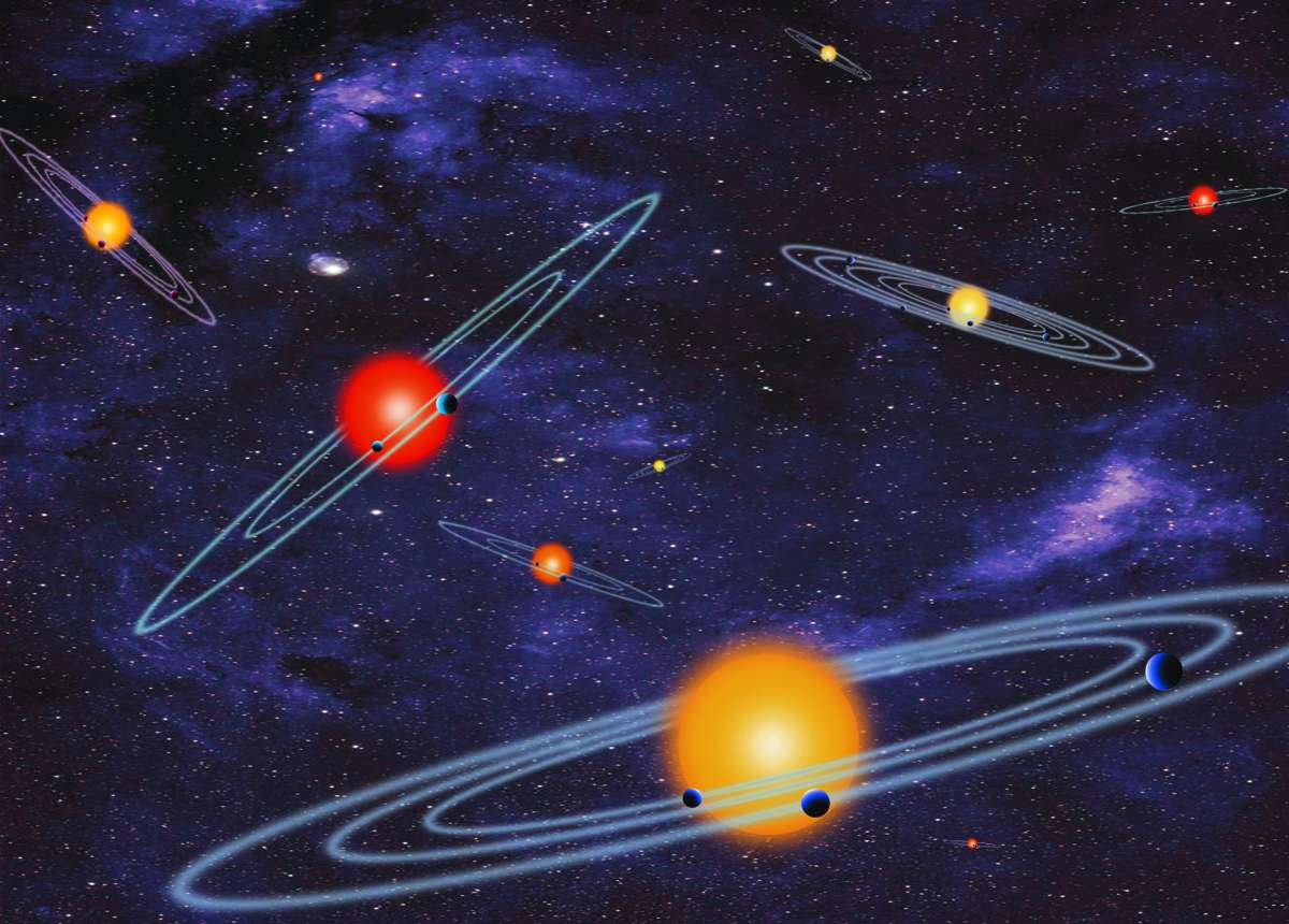 Une représentation d'artiste des systèmes d'exoplanètes découverts en analysant de façon ingénieuse les observations de Kepler. Beaucoup de ces systèmes se trouvent autour de naines rouges. © Nasa