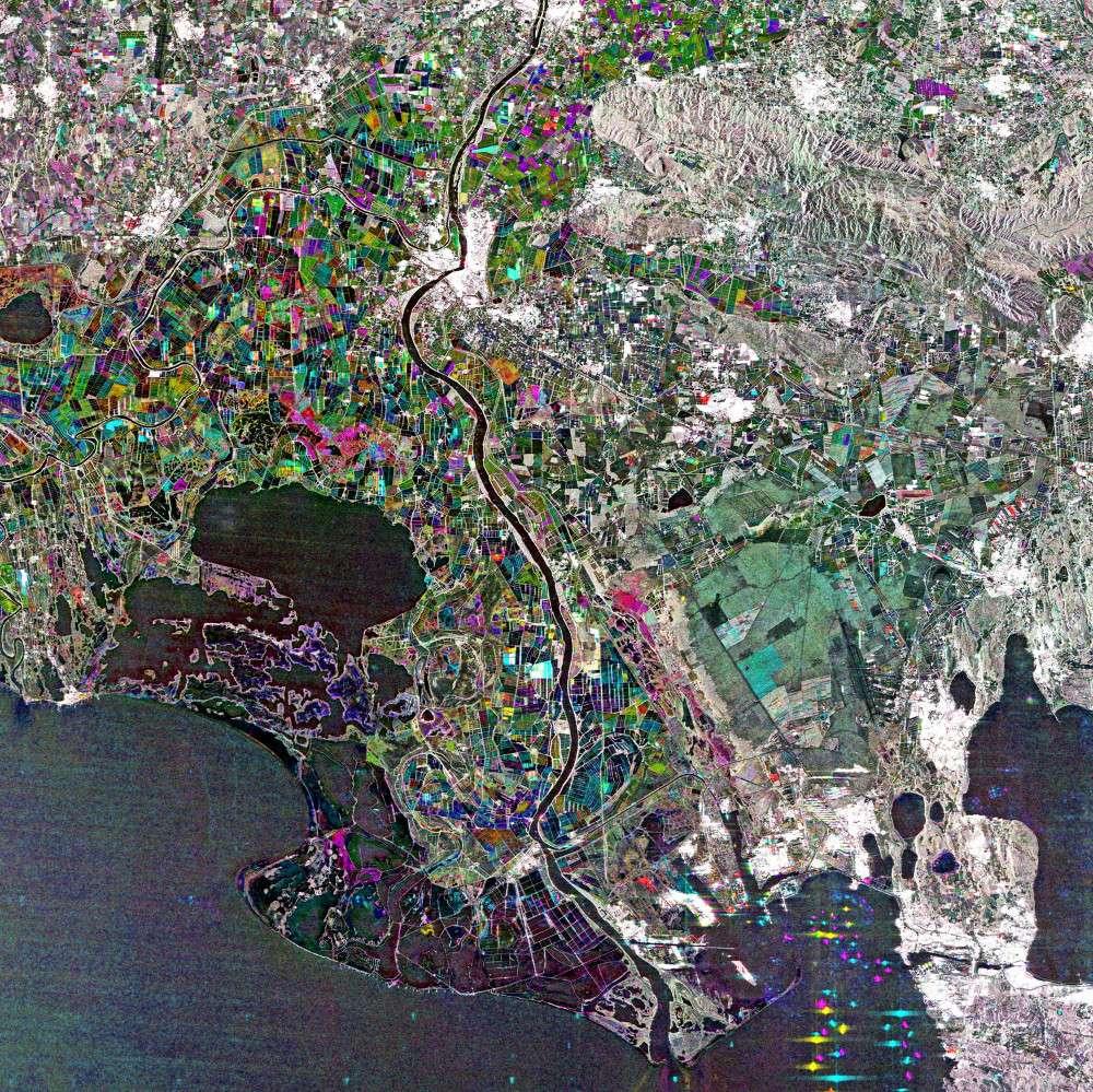 La Camargue vue par le satellite japonais Alos. © Jaxa, Esa