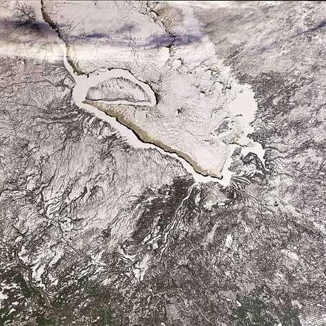 La baie James vue par Envisat. Crédit Esa