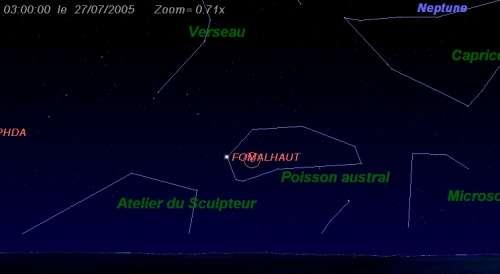Maximum de l'essaim des météores des Pisces Austrinides