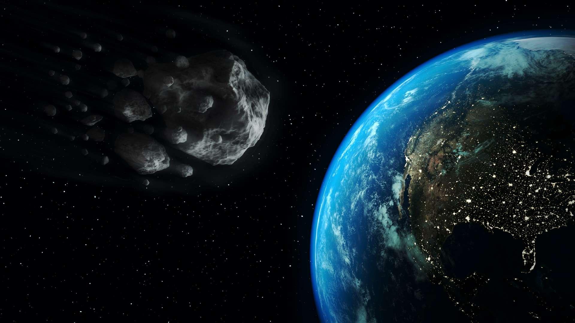 Illustration d'un astéroïde géocroiseur passant dans le voisinage de la Terre. © Marcos Silva, Adobe Stock