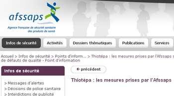 Le Thiotépa, médicament anticancéreux, aurait-il été laissé sciemment sur le marché alors qu'il était périmé ? © Afssaps