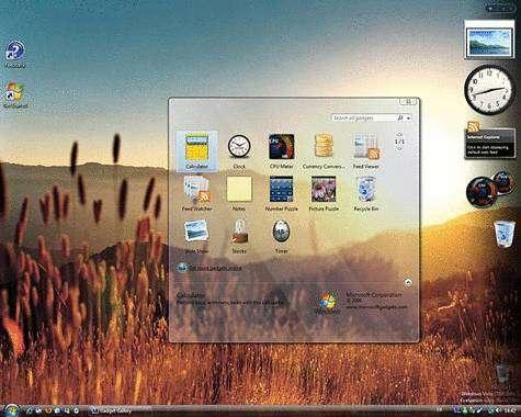 Bureau de Windows Vista. Crédit : Microsoft