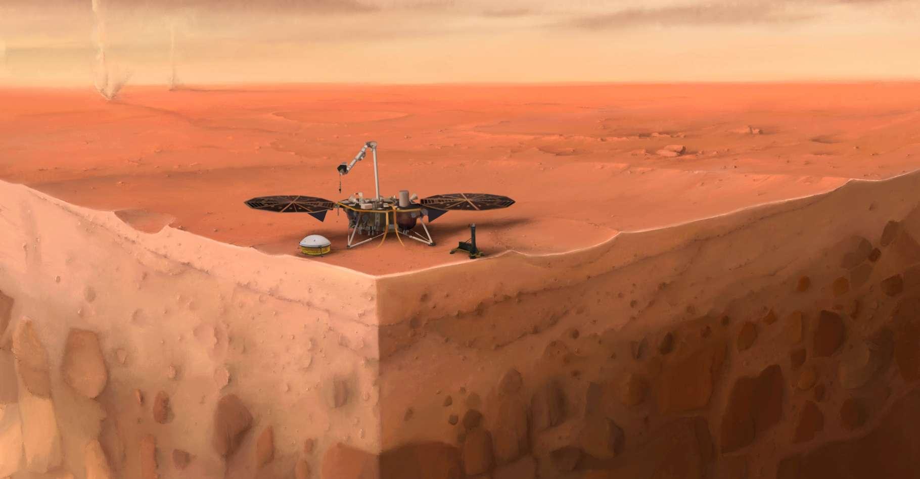 Cette vue d'artiste présente la mission InSight et une coupe de Mars. Le sous-sol de la Planète rouge que la taupe tente de creuser depuis plusieurs mois. Et qu'elle semble enfin avoir atteint. © Nicolas Sarter, IPGP