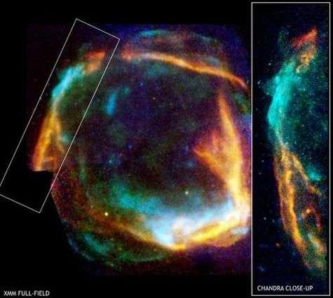 """Images combinées de la super Nova """"RCW 86"""" prises par les satellites Chandra et XMM-Newton et diffusées le 18 septembre 2006 par l'ESA"""