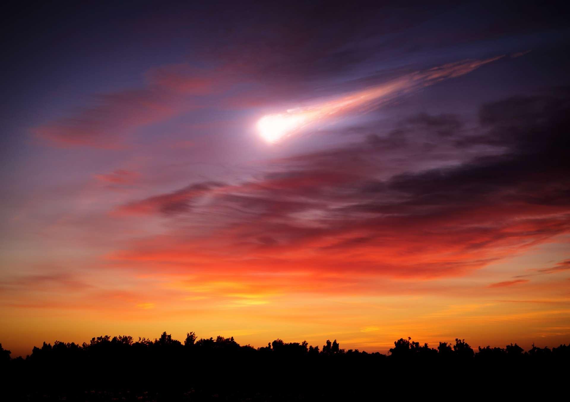 Illustration d'une météorite entrant dans l'atmosphère. © Tryfonov, Adobe Stock