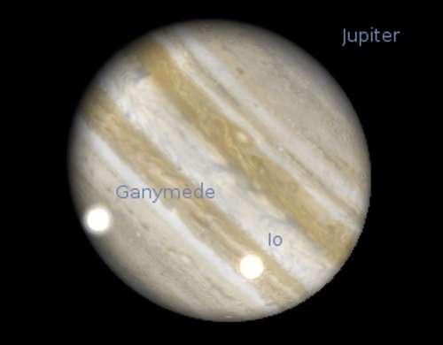 Les satellites Io et Ganymède projettent leur ombre sur Jupiter