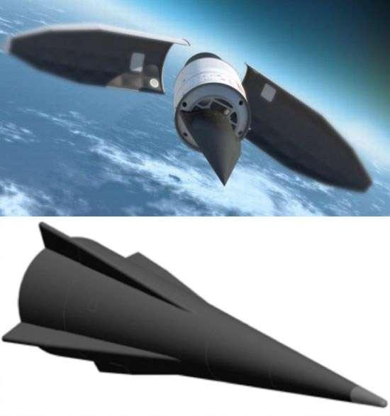 Il n'existe pas de photo officielle du drone Falcon HTV ni de la bombe AHW (image du bas). Seules des vues d'artistes permettent de se faire une idée de ce à quoi ressemblent ces deux projets. © Missile Defense Agency/U.S. Army
