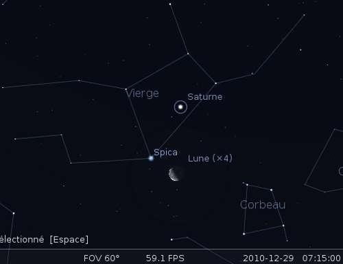 La Lune en rapprochement avec Saturne et l'étoile Spica