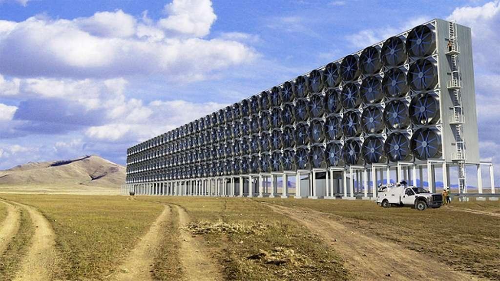 Les membres de la société Carbon Engineering travaillent sur un prototype de machine capable de retirer efficacement le carbone de l'atmosphère. S'ils réussissent, il faudrait tout de même des milliers de ces machines, dont on voit une illustration d'artiste sur cette image, pour impacter significativement la quantité de gaz carbonique présent dans l'atmosphère et en revenir à un taux pré-industriel. © Carbon Engineering