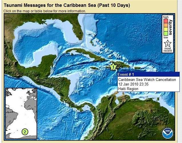 L'île de Saint-Domingue se trouve au bord de la plaque caraïbe, donc au niveau d'une faille sismique. © PTWC