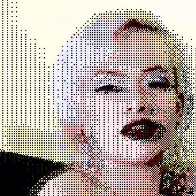 À l'image, un portrait pixellisé. On voit bien que c'est l'ensemble de points qui donne forme à l'image. © Kevindean, Flickr, cc by nc sa 2.0