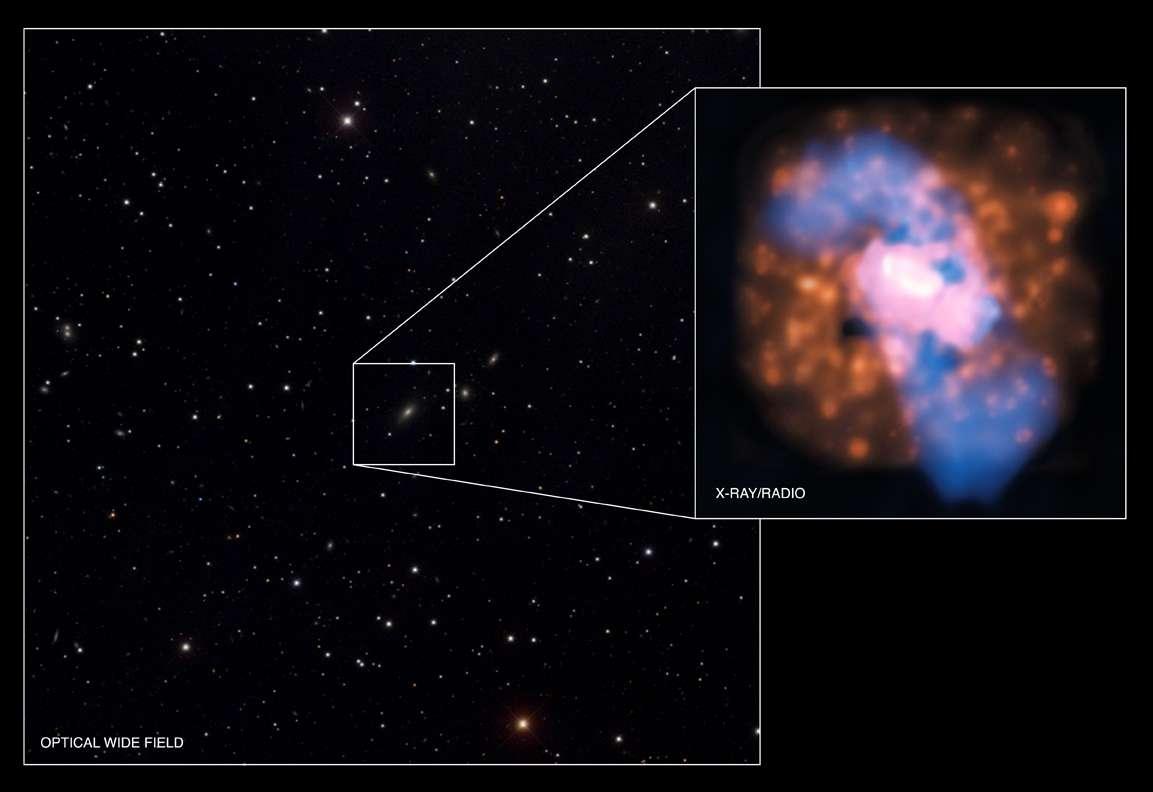 4C +00.58 dans le visible sur cette image du SDSS et un agrandissement montrant les images composites du VLA et de Chandra. Crédits : rayon x : NASA CXC UMD Hodges-Kluck et al. ; radio : NSF NRAO VLA UMD Hodges-Kluck et al. ; visible (SDSS)