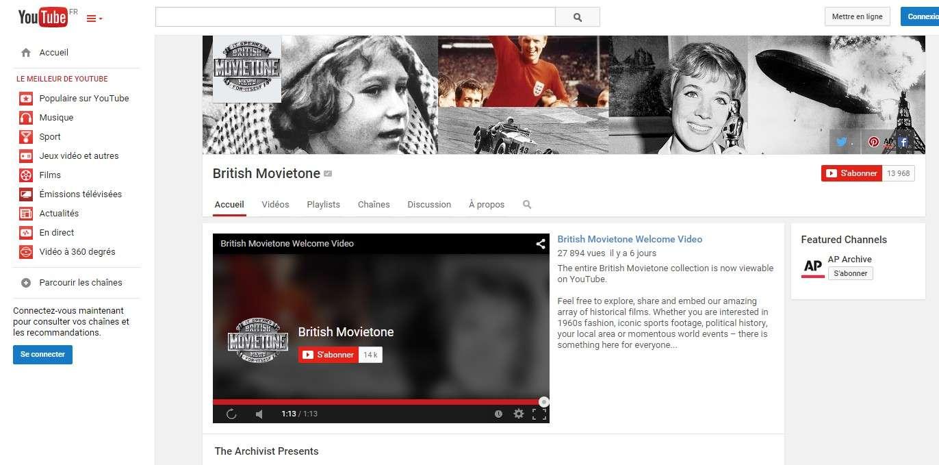 En parcourant les deux nouvelles chaînes YouTube lancées par l'agence Associated Press et British Movietone, on peut remonter le temps jusqu'en 1895 en parcourant les archives en noir et blanc et en couleurs. © British Movietone, YouTube